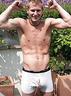 Str8 hunk Liam is feeling very horny today, lapping up the heat he seems to have forgotten he has a girlfriend back home!
