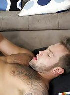 Shane Fisher gives CJ Crawford an awesome blowjob, his first from another guy, and they both shoot nice thick loads all over Shane's chest.