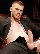 The scene opens with cocky ginger exec Ryan Patrick looking in the mirror and unable to stop checking out how hot he is in his new suit. Before long, he frees his thick, uncut dick from the fly of his slacks. This brings dark-suited hottie RJ Alexander in